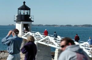 Tourists at the lighthouse, Marashall Point, Maine