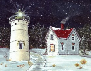 Little River LIght  - painting by Pam Britton