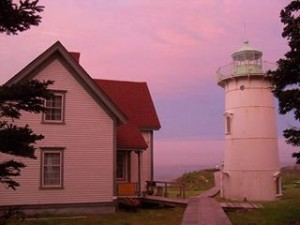 Keeper's house and lighthouse in pink