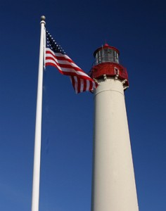 Cape May Lighthouse with flag