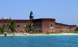 Present day lighthouse at Fort Jefferson, photo courtesy lighthousefriends.com