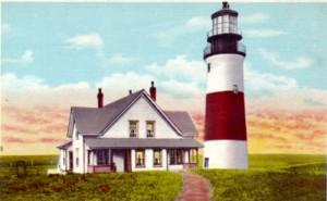 Sankaty Head Lighthouse, MA, vintage postcard courtesy Lighthouse Digest