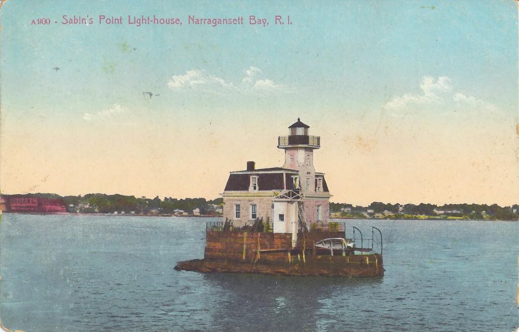 Sabin Point Lighthouse, Rhode Island, old postcard courtesy Jeremy D'Entremont