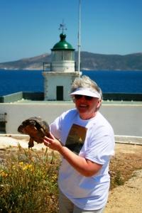 Elinor DeWire at Vrysaki Lighthouse, Greece