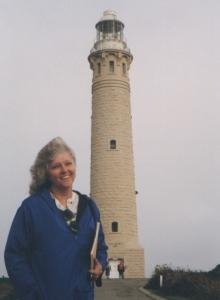 Elinor at Cape Leewin LIghthouse, Australia