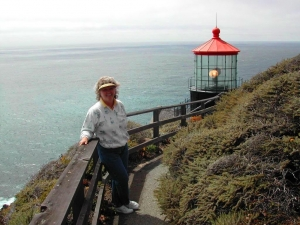 Elinor DeWire at Point Sur Lighthouse 2003