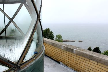 Sand Hills Lighthouse, looking toward old dock from lantern room balcony, photo by Chuck Turk
