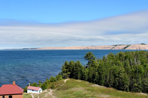 View from Au Sable lantern room showing fog horn building looking toward Pictured Rocks, photo by Marilyn Turk