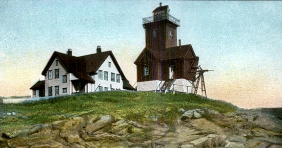 Two Bush Island Light, ME, old postcard courtesy lighthousefriends.com