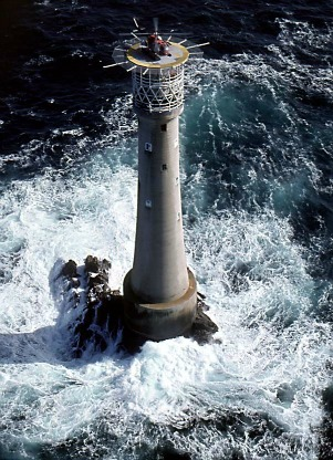 Bishop Rock Lighthouse, UK, photo from cornwalls.co.uk.