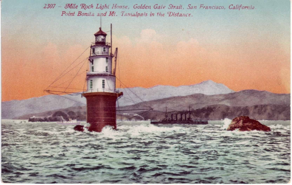 Mile Rocks Lighthouse, CA, old postcard courtesy Lighthouse Digest.