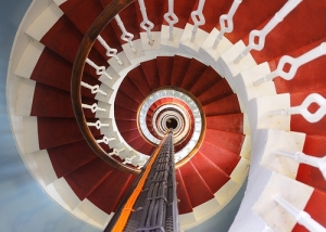 Staircase of Buchan Ness Lighthouse, Scotland, photo by Ian Cowe