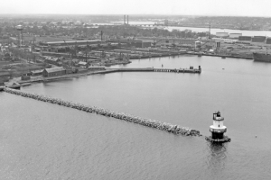 Breakwater being built to Spring Point Ledge Light, 1951