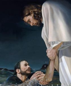 Jesus reaching out to save Peter