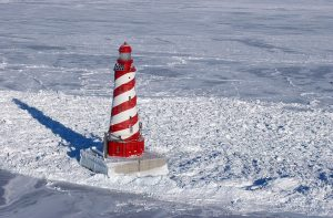 White Shoal Lighthouse, Lake Michigan , in winter